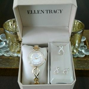 Ellen Tracy Watch, Necklace & Earring Set (New)